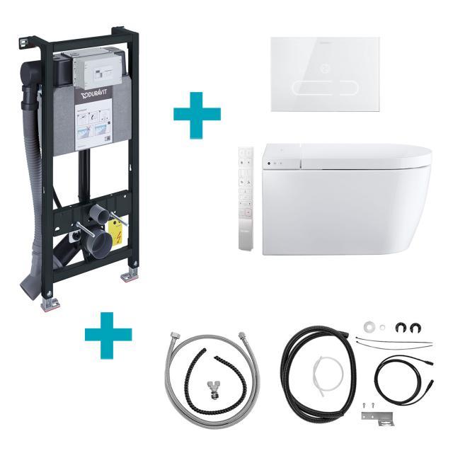Duravit SensoWash® Starck f Plus Compact Dusch-WC Komplettanlage für Wandmontage, mit WC-Sitz mit Montageelement, Betätigungsplatte & Installations-Sets