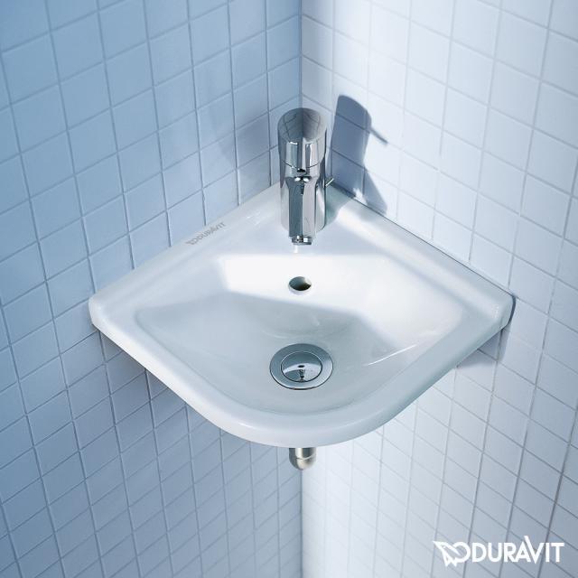 Duravit Starck 3 Eck-Handwaschbecken weiß, mit WonderGliss, mit 1 Hahnloch