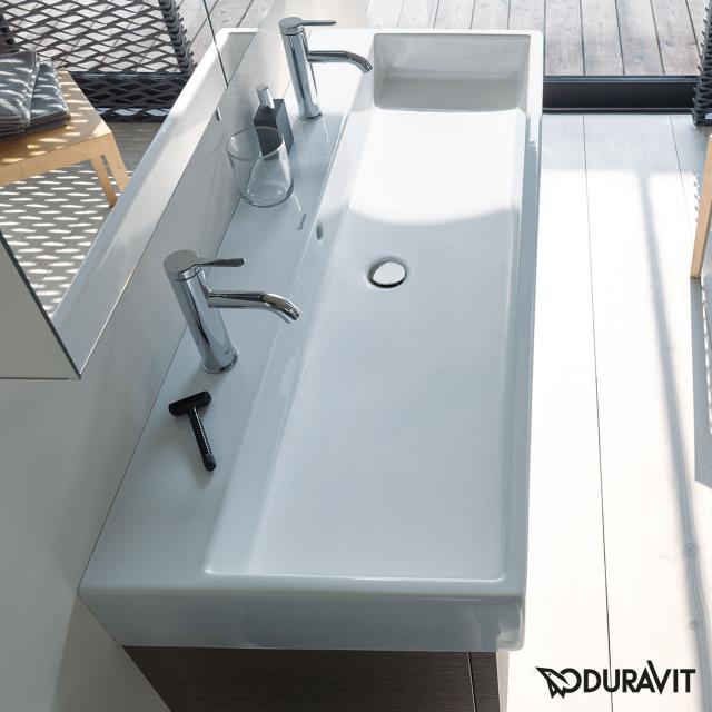 Duravit Vero Air Doppelwaschtisch weiß, mit WonderGliss, mit 2 Hahnlöchern, ungeschliffen, mit Überlauf