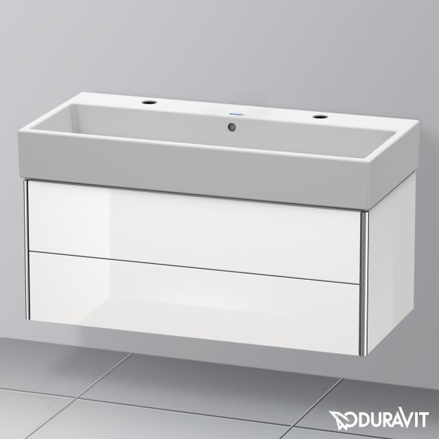 Duravit Vero Air Waschtisch mit XSquare Waschtischunterschrank mit 2 Auszügen weiß, mit WonderGliss, mit 2 Hahnlöchern, mit Überlauf