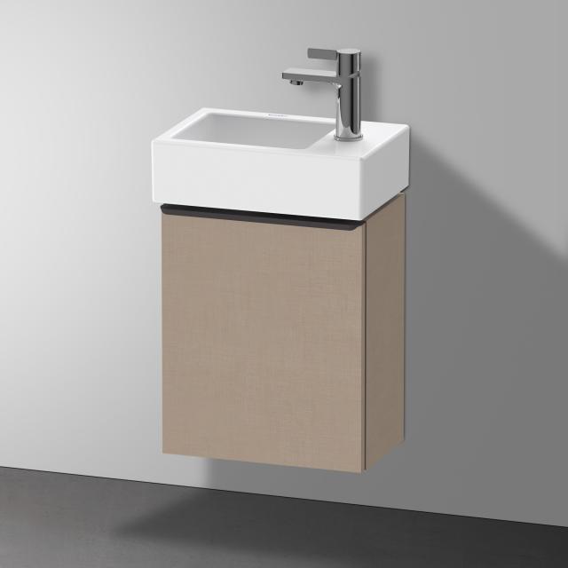 Duravit Vero Air Handwaschbecken mit D-Neo Waschtischunterschrank mit 1 Tür Front leinen / Korpus leinen, WT weiß, mit WonderGliss
