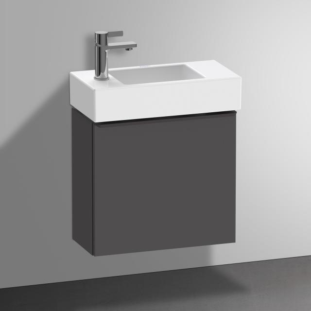 Duravit Vero Air Handwaschbecken mit D-Neo Waschtischunterschrank mit 1 Tür Front graphit matt / Korpus graphit matt, WT weiß, mit WonderGliss, mit 1 Hahnloch links