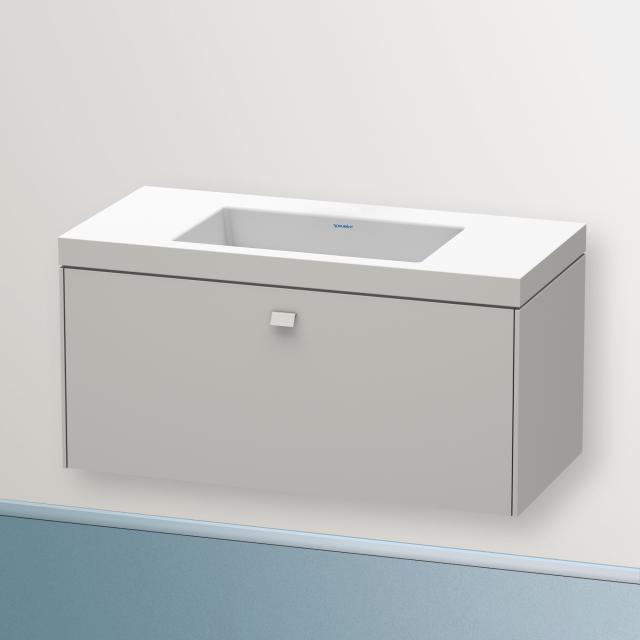 Duravit Vero Air Waschtisch mit Brioso Waschtischunterschrank mit 1 Auszug Front betongrau matt/Korpus betongrau matt, Griff betongrau matt