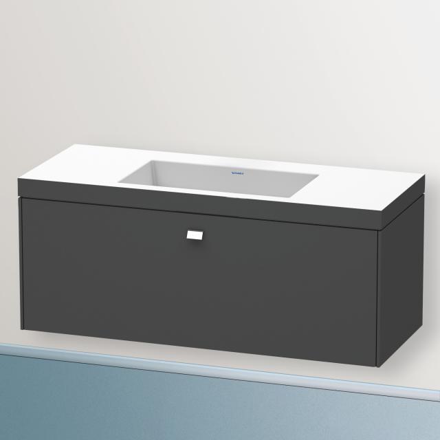 Duravit Vero Air Waschtisch mit Brioso Waschtischunterschrank mit 1 Auszug Front graphit matt/Korpus graphit matt, Griff chrom