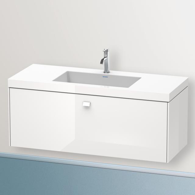 Duravit Vero Air Waschtisch mit Brioso Waschtischunterschrank mit 1 Auszug Front weiß hochglanz/Korpus weiß hochglanz, Griff weiß hochglanz