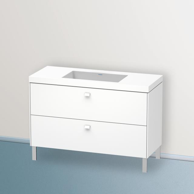Duravit Vero Air Waschtisch mit Brioso Waschtischunterschrank mit 2 Auszügen Front weiß matt/Korpus weiß matt, Griff weiß matt