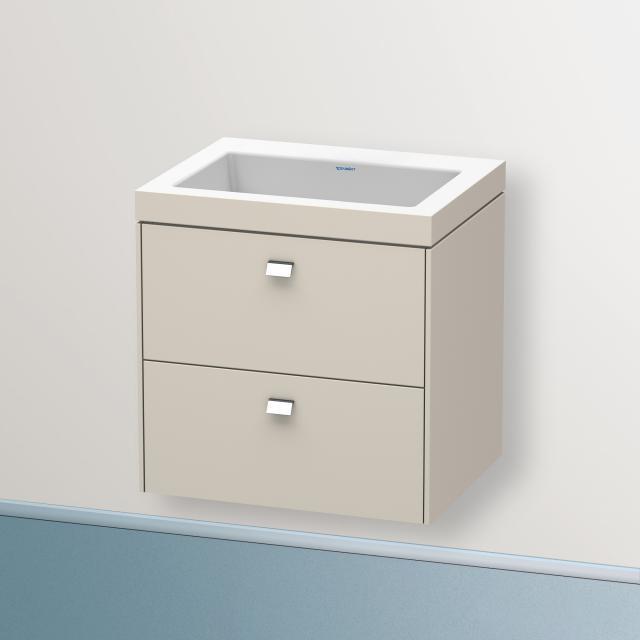 Duravit Vero Air Waschtisch mit Brioso Waschtischunterschrank mit 2 Auszügen Front taupe matt/Korpus taupe matt, Griff chrom