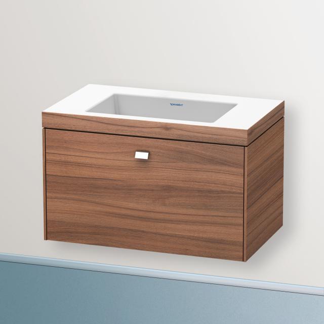 Duravit Vero Air Waschtisch mit Brioso Waschtischunterschrank mit 1 Auszug Front nussbaum natur/Korpus nussbaum natur, Griff chrom