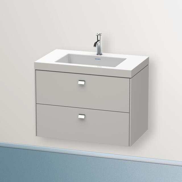 Duravit Vero Air Waschtisch mit Brioso Waschtischunterschrank mit 2 Auszügen Front betongrau matt/Korpus betongrau matt, Griff chrom