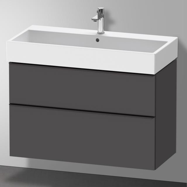 Duravit Vero Air Waschtisch mit D-Neo Waschtischunterschrank mit 2 Auszügen Front graphit matt / Korpus graphit matt, WT weiß, mit 1 Hahnloch, mit Überlauf