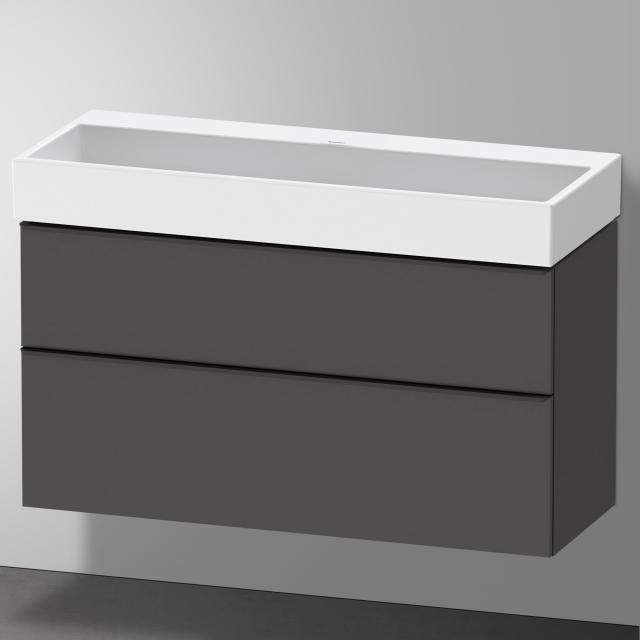 Duravit Vero Air Waschtisch mit D-Neo Waschtischunterschrank mit 2 Auszügen Front graphit matt / Korpus graphit matt, WT weiß, ohne Hahnloch, ohne Überlauf