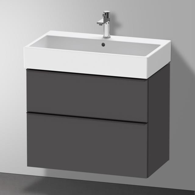 Duravit Vero Air Waschtisch mit D-Neo Waschtischunterschrank mit 2 Auszügen Front graphit matt / Korpus graphit matt, WT weiß, mit WonderGliss, mit 1 Hahnloch, mit Überlauf
