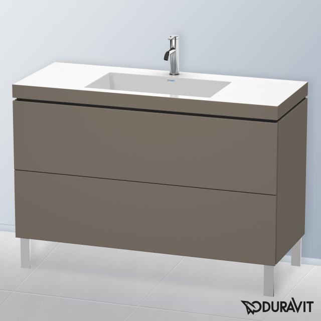 Duravit Vero Air Waschtisch mit L-Cube Waschtischunterschrank mit 2 Auszügen Front flannel grey seidenmatt / Korpus flannel grey seidenmatt, ohne Einrichtungssystem, mit 1 Hahnloch