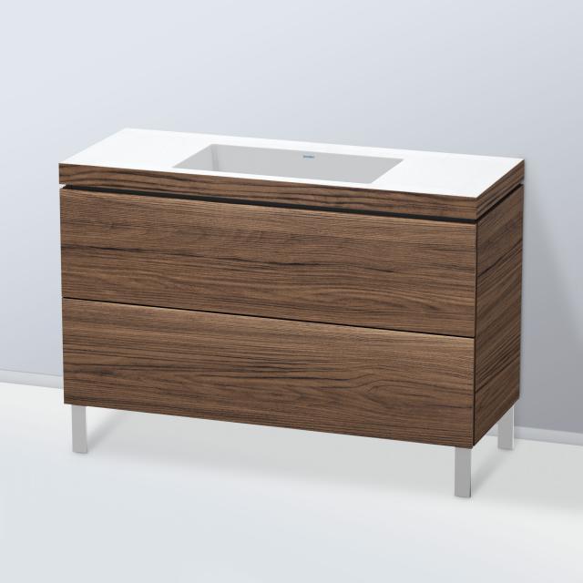 Duravit Vero Air Waschtisch mit L-Cube Waschtischunterschrank mit 2 Auszügen Front nussbaum dunkel / Korpus nussbaum dunkel, ohne Einrichtungssystem, ohne Hahnloch