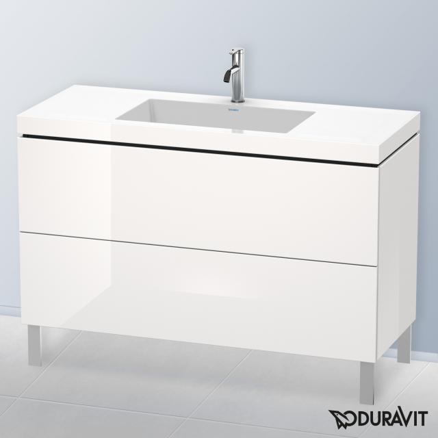 Duravit Vero Air Waschtisch mit L-Cube Waschtischunterschrank mit 2 Auszügen Front weiß hochglanz / Korpus weiß hochglanz, mit Einrichtungssystem Nussbaum, mit 1 Hahnloch