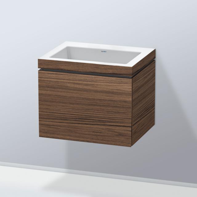 Duravit Vero Air Waschtisch mit L-Cube Waschtischunterschrank mit 1 Auszug Front nussbaum dunkel / Korpus nussbaum dunkel, ohne Einrichtungssystem, ohne Hahnloch