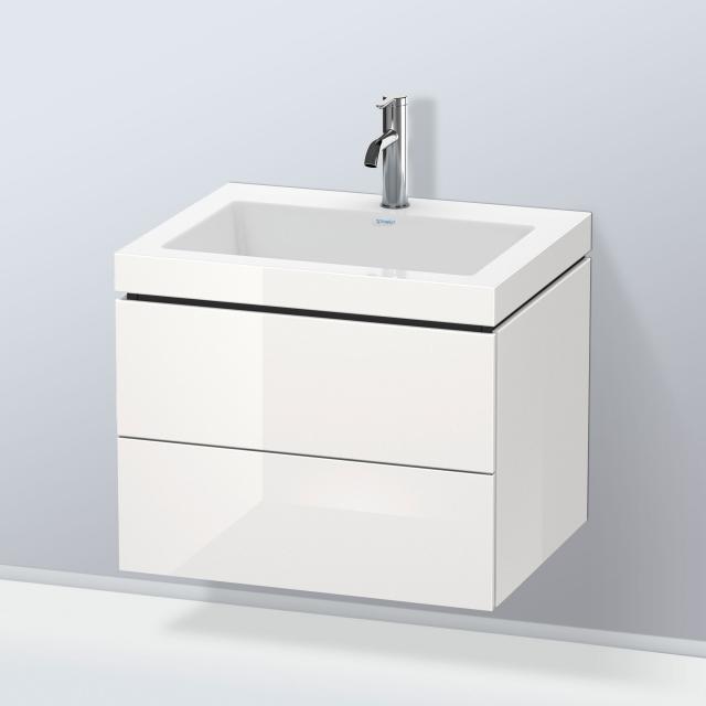 Duravit Vero Air Waschtisch mit L-Cube Waschtischunterschrank mit 2 Auszügen Front weiß hochglanz / Korpus weiß hochglanz, ohne Einrichtungssystem, mit 1 Hahnloch