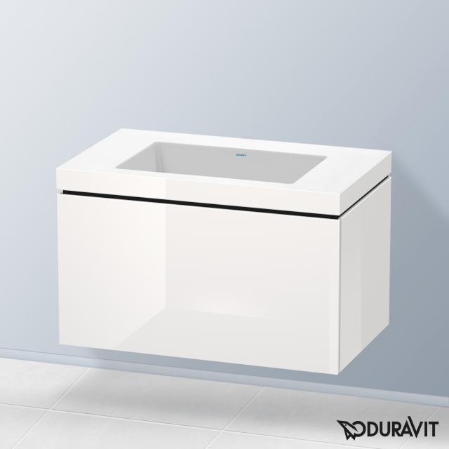 Duravit Vero Air Waschtisch mit L-Cube Waschtischunterschrank mit 1 Auszug Front weiß hochglanz / Korpus weiß hochglanz, mit Einrichtungssystem Ahorn, ohne Hahnloch