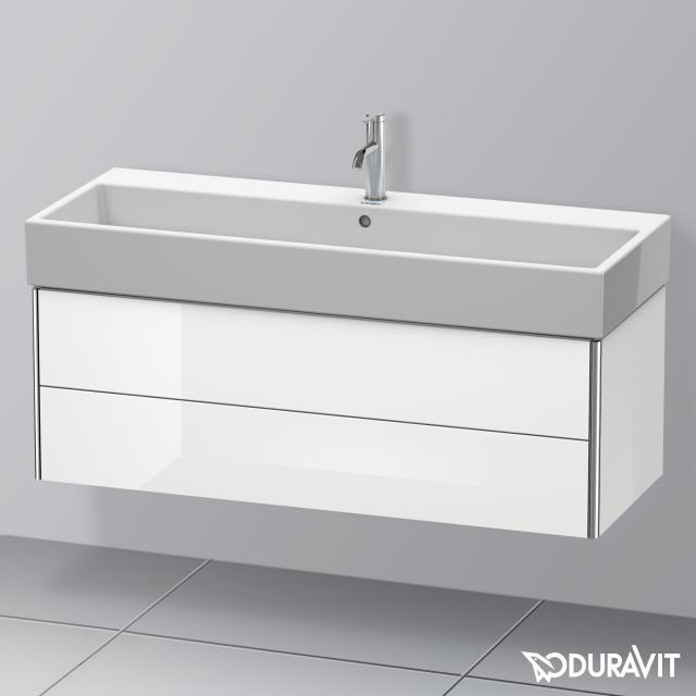 Duravit Vero Air Waschtisch mit XSquare Waschtischunterschrank mit 2 Auszügen weiß, mit WonderGliss, mit 1 Hahnloch, mit Überlauf