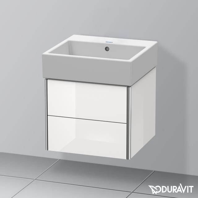 Duravit Vero Air Waschtisch mit XSquare Waschtischunterschrank mit 2 Auszügen weiß, ohne Hahnloch, mit Überlauf