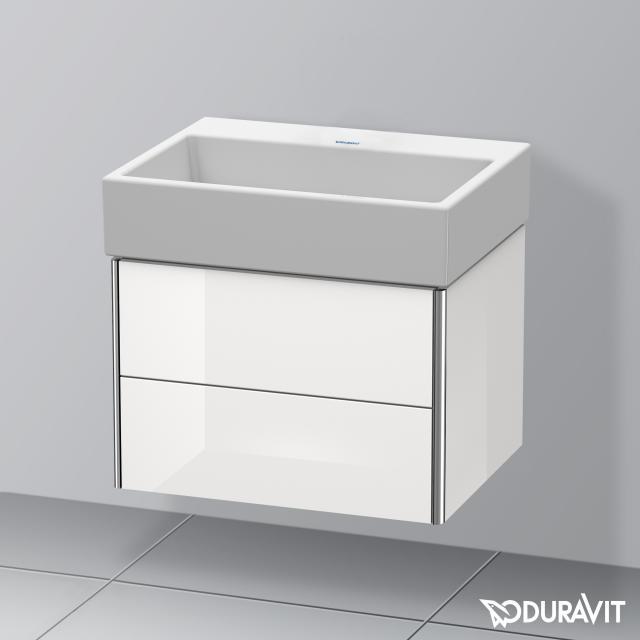 Duravit Vero Air Waschtisch mit XSquare Waschtischunterschrank mit 2 Auszügen weiß, mit WonderGliss, ohne Hahnloch, ohne Überlauf