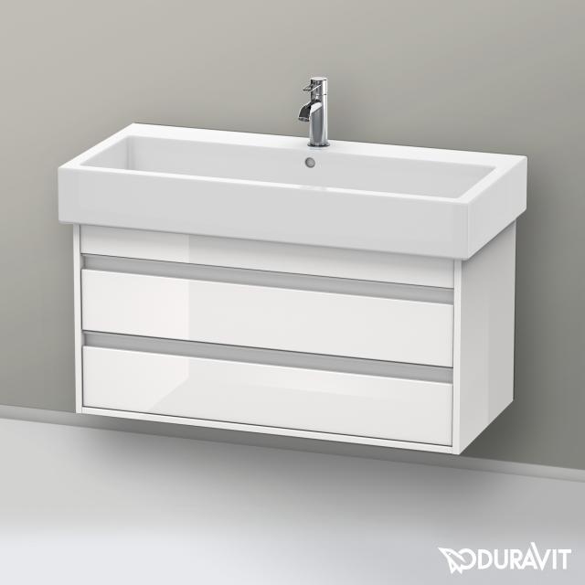 Duravit Vero Waschtisch mit Ketho Waschtischunterschrank mit 2 Auszügen weiß, mit 1 Hahnloch, mit Überlauf