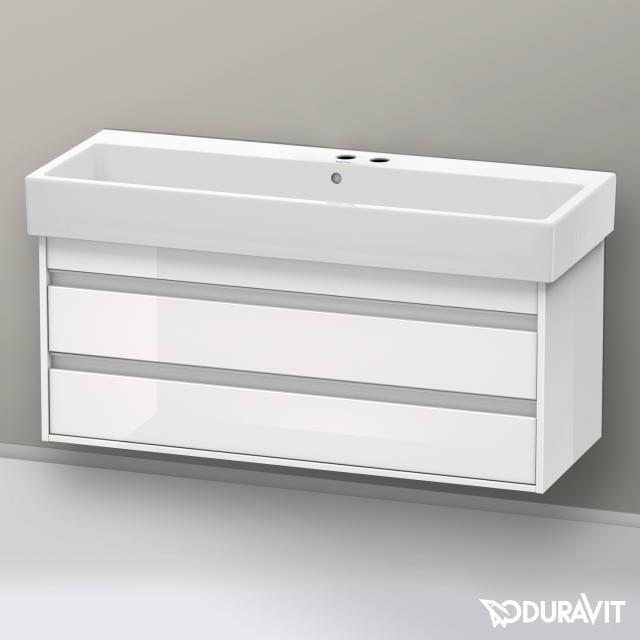 Duravit Vero Waschtisch mit Ketho Waschtischunterschrank mit 2 Auszügen weiß, mit WonderGliss, mit 2 Hahnlöchern, mit Überlauf