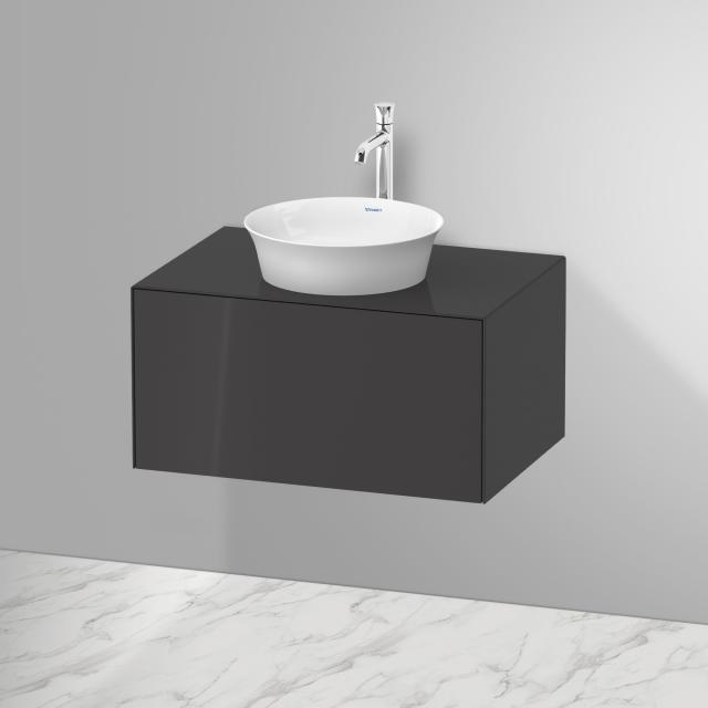 Duravit White Tulip Aufsatzwaschtisch mit Waschtischunterschrank mit 1 Auszug Front graphit hochglanz / Korpus graphit hochglanz, ohne Einrichtungssystem, mit Tip-on-Technik, WT weiß
