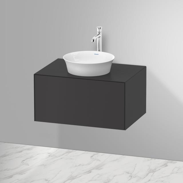 Duravit White Tulip Aufsatzwaschtisch mit Waschtischunterschrank mit 1 Auszug Front graphit seidenmatt / Korpus graphit seidenmatt, ohne Einrichtungssystem, mit Tip-on-Technik, WT weiß