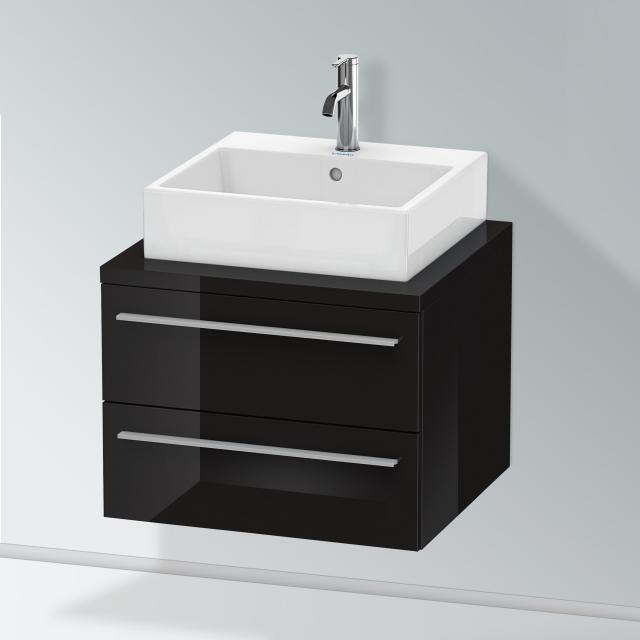 Duravit X-Large Waschtischunterschrank für Konsole mit 2 Auszügen Front schwarz hochglanz / Korpus schwarz hochglanz