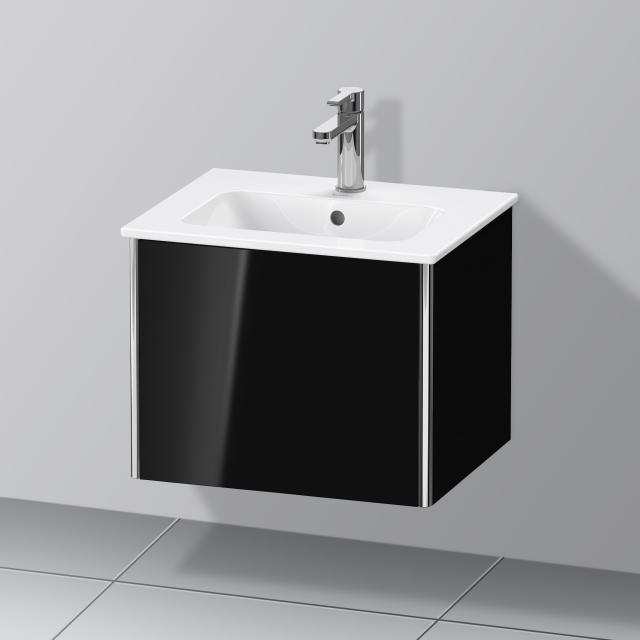 Duravit XSquare Handwaschbeckenunterschrank Compact mit 1 Auszug Front schwarz hochglanz / Korpus schwarz hochglanz