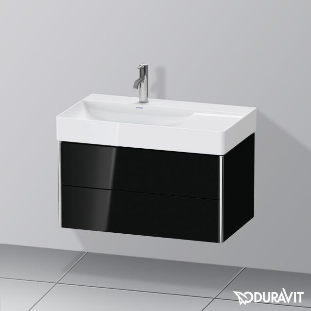 Duravit XSquare Waschtischunterschrank mit 2 Auszügen Front schwarz hochglanz / Korpus schwarz hochglanz, mit Einrichtungssystem Ahorn
