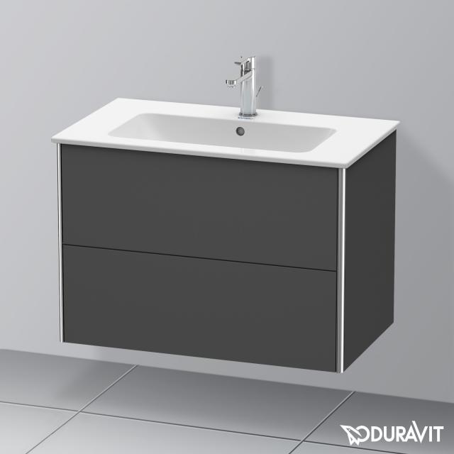 Duravit XSquare Waschtischunterschrank mit 2 Auszügen Front graphit matt / Korpus graphit matt, mit Einrichtungssystem Ahorn