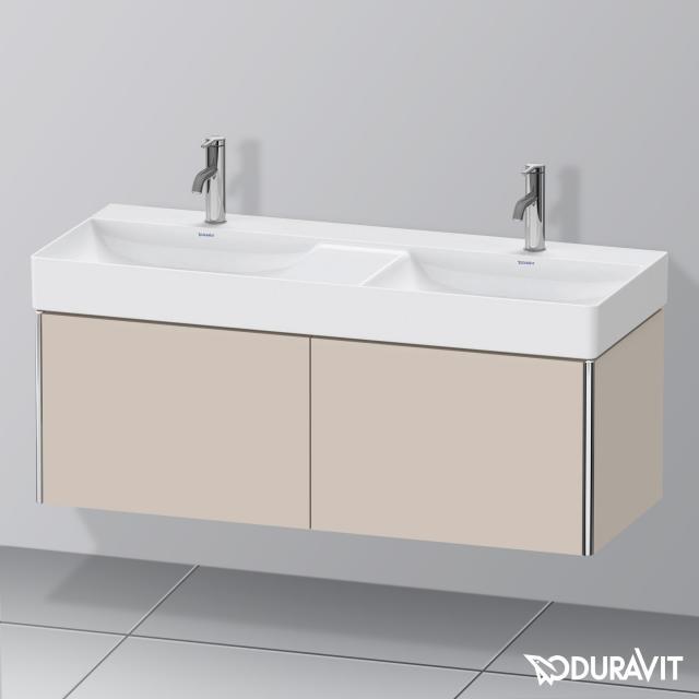 Duravit XSquare Waschtischunterschrank für Doppelwaschtisch mit 2 Auszügen Front taupe matt / Korpus taupe matt, mit Einrichtungssystem Nussbaum