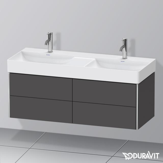 Duravit XSquare Waschtischunterschrank für Doppelwaschtisch mit 4 Auszügen Front graphit matt / Korpus graphit matt, mit Einrichtungssystem Nussbaum
