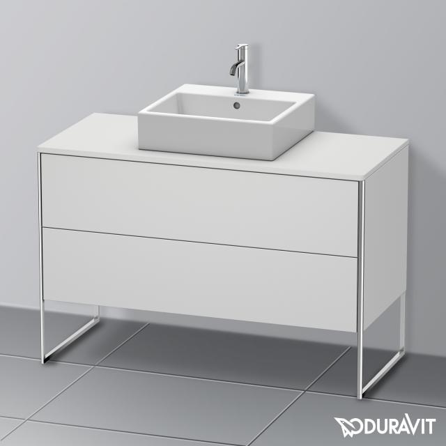 Duravit XSquare Waschtischunterschrank für Konsole mit 2 Auszügen Front weiß seidenmatt / Korpus weiß seidenmatt, mit Einrichtungssystem Nussbaum