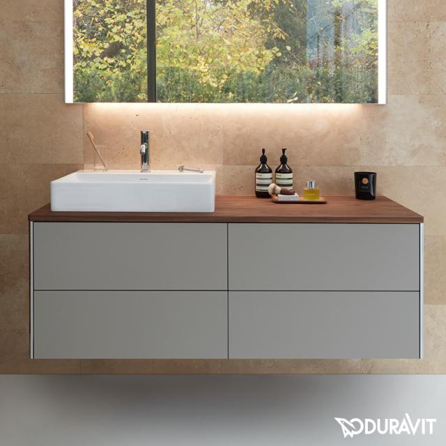 Duravit XSquare Waschtischunterschrank für Konsole mit 4 Auszügen Front steingrau seidenmatt / Korpus steingrau seidenmatt, mit Einrichtungssystem Nussbaum