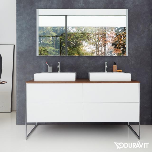 Duravit XSquare Waschtischunterschrank für Konsole mit 4 Auszügen Front weiß matt / Korpus weiß matt, mit Einrichtungssystem Nussbaum