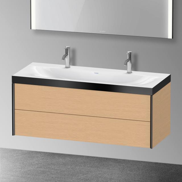 Duravit XViu Doppelwaschtisch mit Waschtischunterschrank mit 2 Auszügen Front eiche gebürstet/schwarz matt/Korpus eiche gebürstet/schwarz matt, Kante schwarz matt, mit Einrichtungssystem Nussbaum