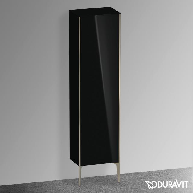Duravit XViu Hochschrank mit 1 Tür Front schwarz hochglanz / Korpus schwarz hochglanz, Kante champagner matt