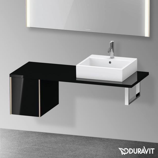 Duravit XViu Unterschrank für Konsole mit 1 Auszug schwarz hochglanz, Kante champagner matt, ohne Einrichtungssystem