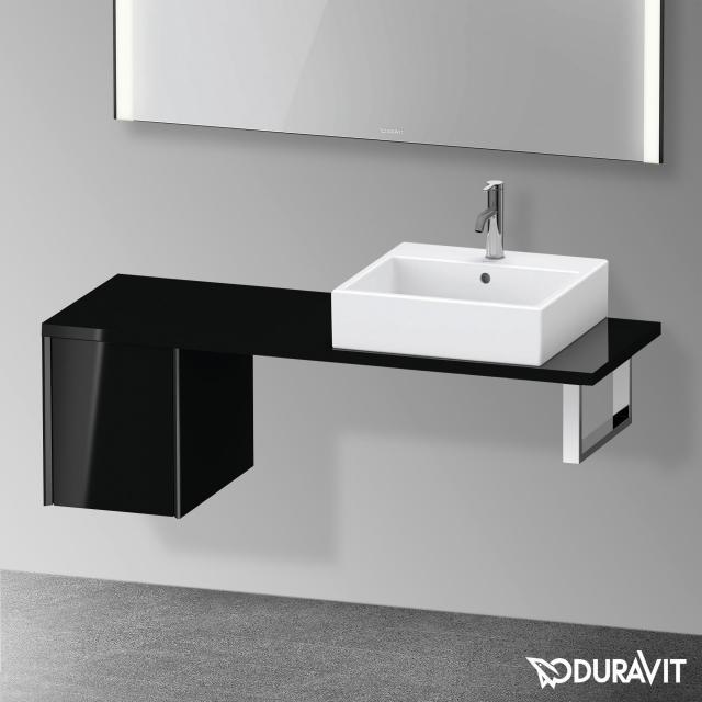 Duravit XViu Unterschrank für Konsole Compact mit 1 Auszug schwarz hochglanz, Kante schwarz matt, ohne Einrichtungssystem