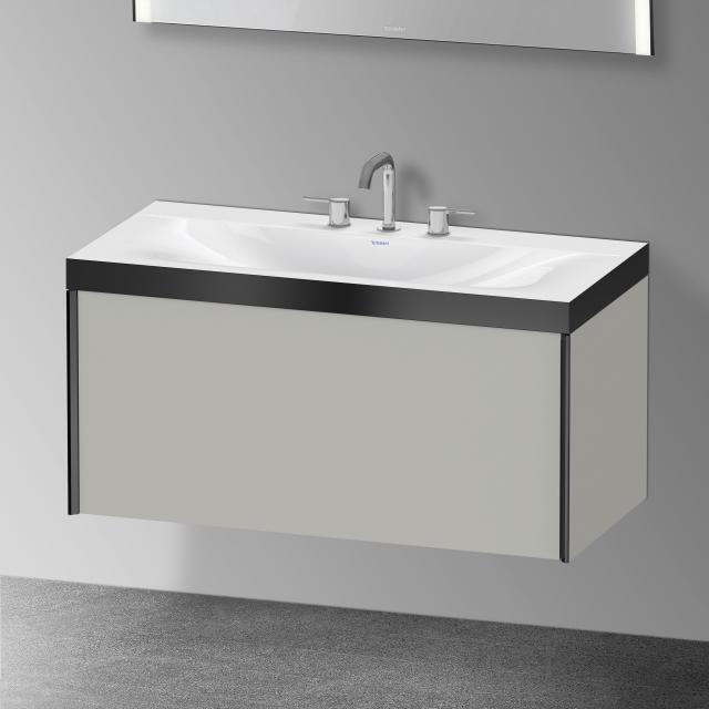 Duravit XViu Waschtisch mit Waschtischunterschrank mit 1 Auszug mit 3 Hahnlöchern, Front betongrau matt/Korpus betongrau matt, Kante schwarz matt, ohne Einrichtungssystem
