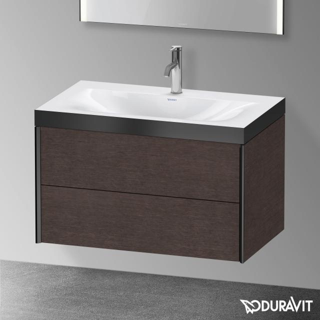 Duravit XViu Waschtisch mit Waschtischunterschrank mit 2 Auszügen eiche dunkel gebürstet/schwarz matt, Kante schwarz matt, ohne Einrichtungssystem