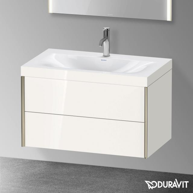 Duravit XViu Waschtisch mit Waschtischunterschrank mit 2 Auszügen weiß hochglanz, Kante champagner matt, mit Einrichtungssystem Nussbaum
