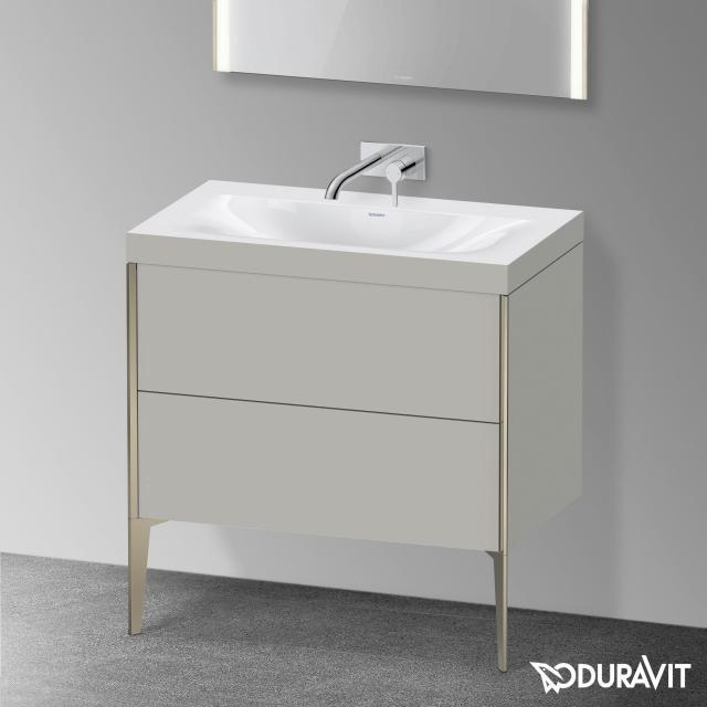 Duravit XViu Waschtisch mit Waschtischunterschrank mit 2 Auszügen betongrau matt, Kante champagner matt, ohne Einrichtungssystem