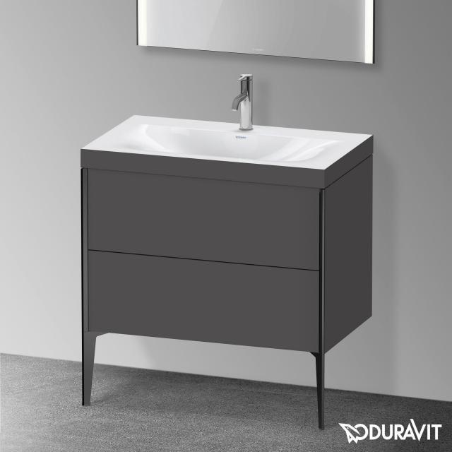 Duravit XViu Waschtisch mit Waschtischunterschrank mit 2 Auszügen graphit matt, Kante schwarz matt, ohne Einrichtungssystem