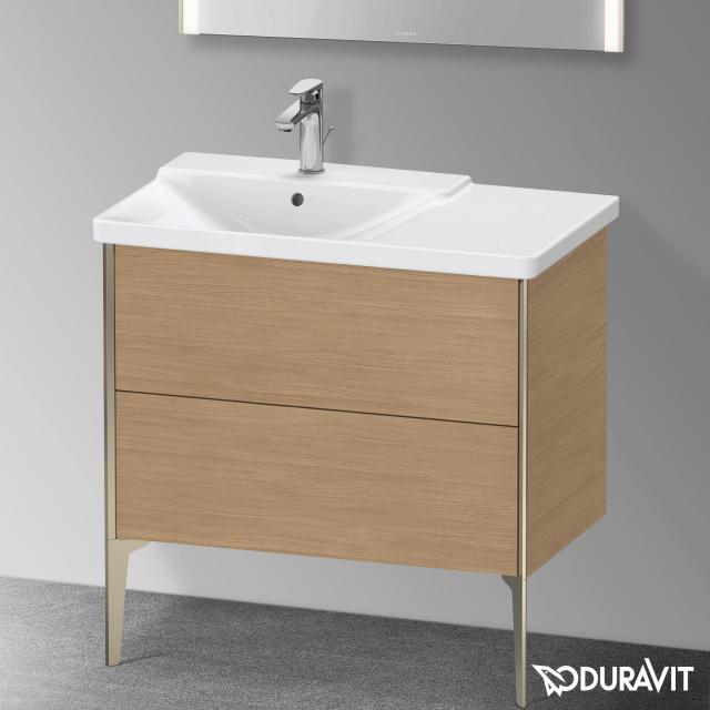 Duravit XViu Waschtischunterschrank mit 2 Auszügen europäische eiche, Kante champagner matt, ohne Einrichtungssystem