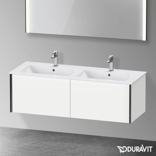 Duravit XViu Waschtischunterschrank für Doppelwaschtisch mit 2 Auszügen weiß matt, Kante schwarz matt, ohne Einrichtungssystem