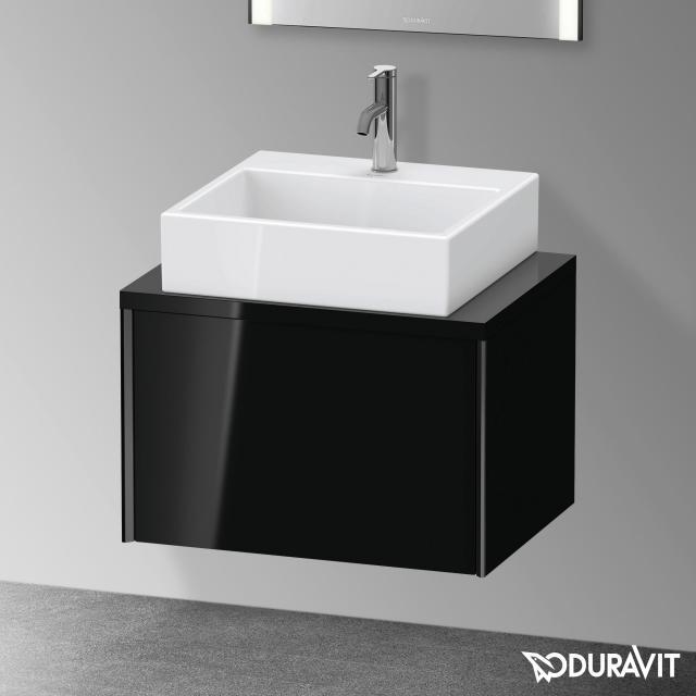 Duravit XViu Waschtischunterschrank für Konsole Compact mit 1 Auszug schwarz hochglanz, Kante schwarz matt, ohne Einrichtungssystem